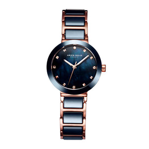 ARIES GOLD ENCHANT PERSIA ROSE GOLD STAINLESS STEEL L 5006Z RG-BUMP BLUE CERAMIC WOMEN'S WATCH