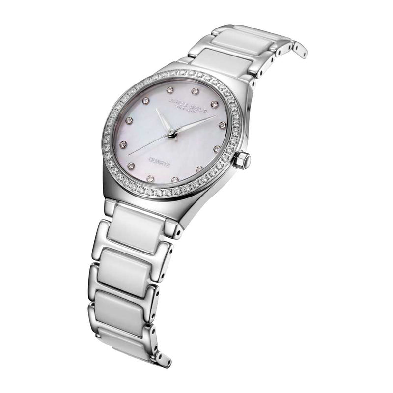 ARIES GOLD ENCHANT SILVER STAINLESS STEEL L 5014Z S-MOP WHITE CERAMIC WOMEN'S WATCH