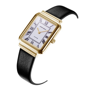 ARIES GOLD ENCHANT ISABELLA GOLD STAINLESS STEEL L 5032Z G-W-L LEATHER STRAP WOMEN'S WATCH