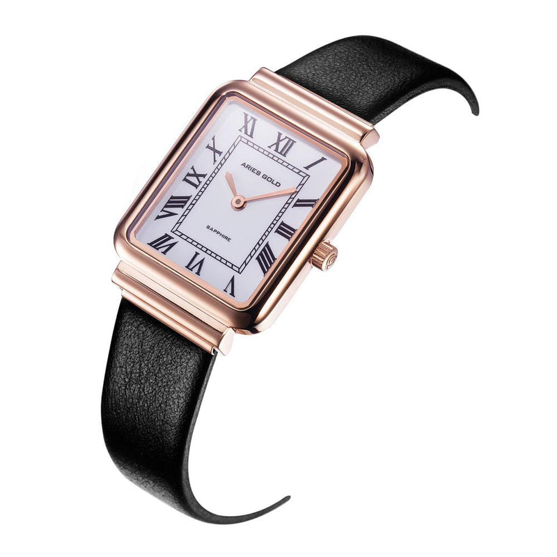 ARIES GOLD ENCHANT ISABELLA ROSE GOLD STAINLESS STEEL L 5032Z RG-W-L LEATHER STRAP WOMEN'S WATCH
