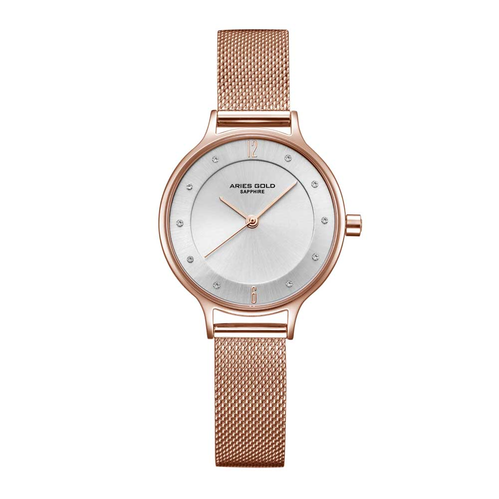ARIES GOLD ENCHANT ROSE GOLD STAINLESS STEEL L 5033Z RG-W MESH STRAP WOMEN'S WATCH