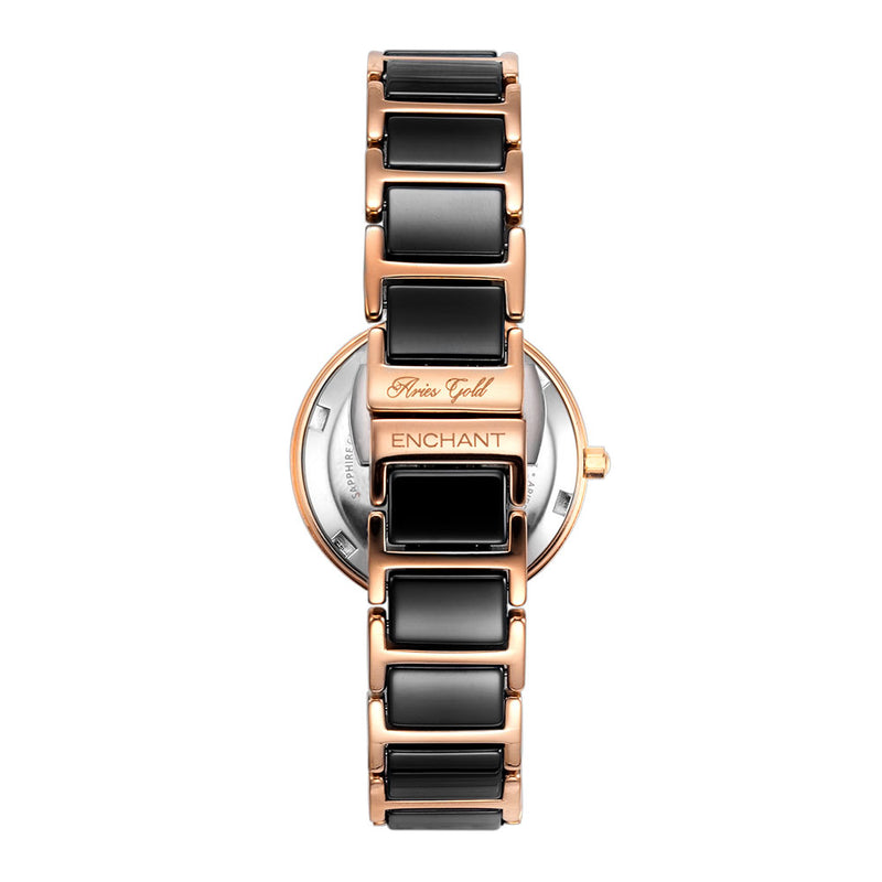 ARIES GOLD ENCHANT L 5037Z RG-BK WOMEN'S WATCH