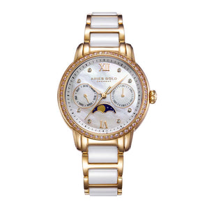 ARIES GOLD ENCHANT LUNA GOLD STAINLESS STEEL L 58010L G-MP WHITE CERAMIC WOMEN'S WATCH