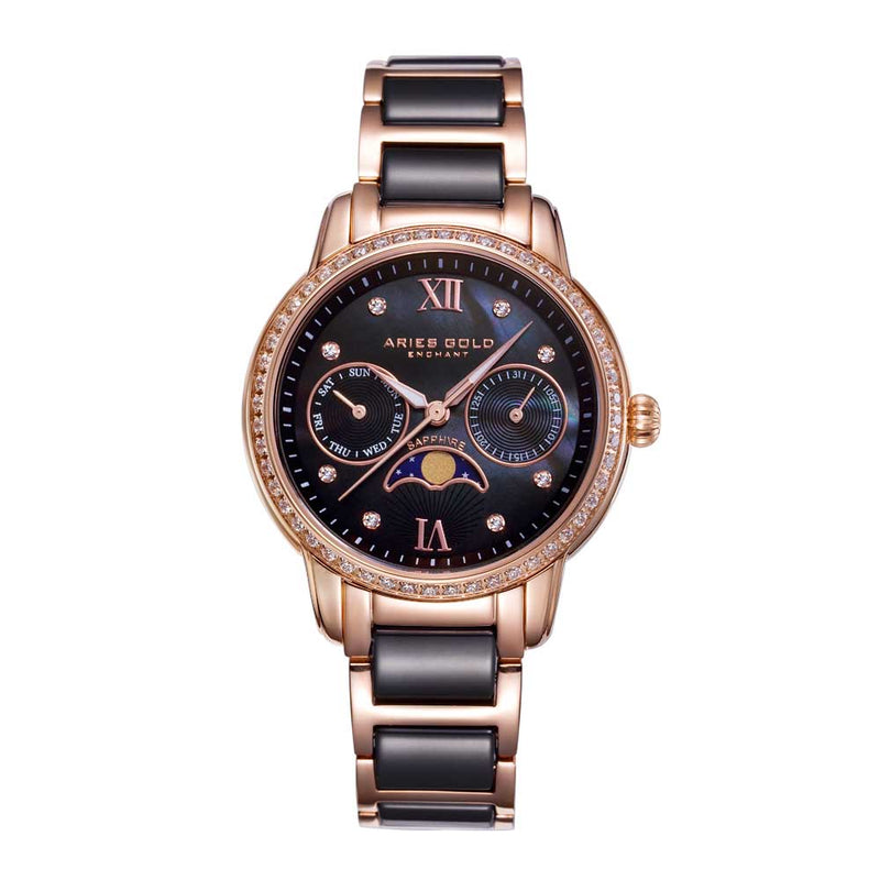 ARIES GOLD ENCHANT LUNA ROSE GOLD STAINLESS STEEL L 58010L RG-BKMP BLACK CERAMIC WOMEN'S WATCH