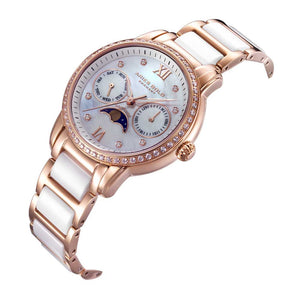 ARIES GOLD ENCHANT LUNA ROSE GOLD STAINLESS STEEL L 58010L RG-MP WHITE CERAMIC WOMEN'S WATCH