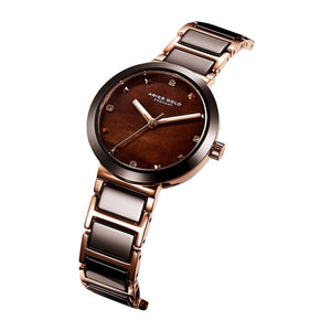 ARIES GOLD ENCHANT PERSIA ROSE GOLD STAINLESS STEEL L 5006Z RG-BRMP BROWN CERAMIC WOMEN'S WATCH