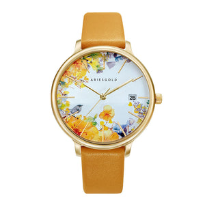 ARIES GOLD ENCHANT FLEUR GOLD STAINLESS STEEL L 5035A G-YFL MUSTARD YELLOW LEATHER STRAP WOMEN'S WATCH