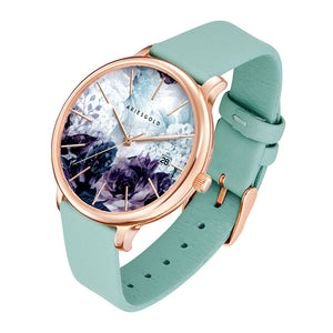 ARIES GOLD ENCHANT FLEUR ROSE GOLD STAINLESS STEEL L 5035A RG-GNFL TURQUOISE LEATHER STRAP WOMEN'S WATCH
