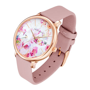 ARIES GOLD ENCHANT FLEUR ROSE GOLD STAINLESS STEEL L 5035A RG-PIFL PINK LEATHER STRAP WOMEN'S WATCH