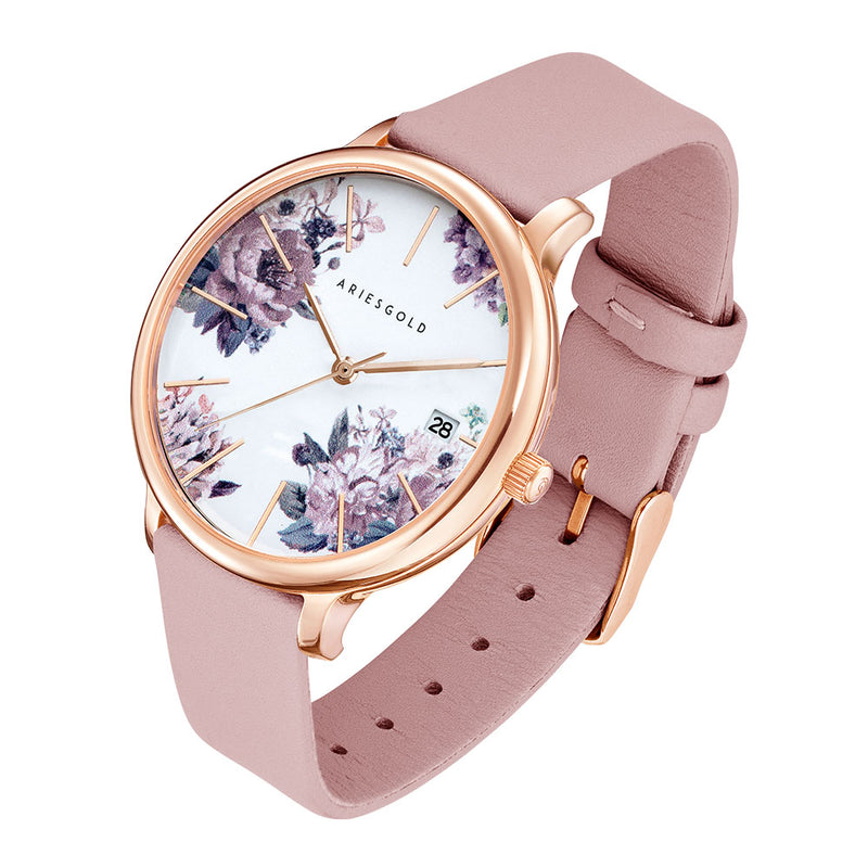 ARIES GOLD ENCHANT FLEUR ROSE GOLD STAINLESS STEEL L 5035A RG-PUFL PINK LEATHER STRAP WOMEN'S WATCH
