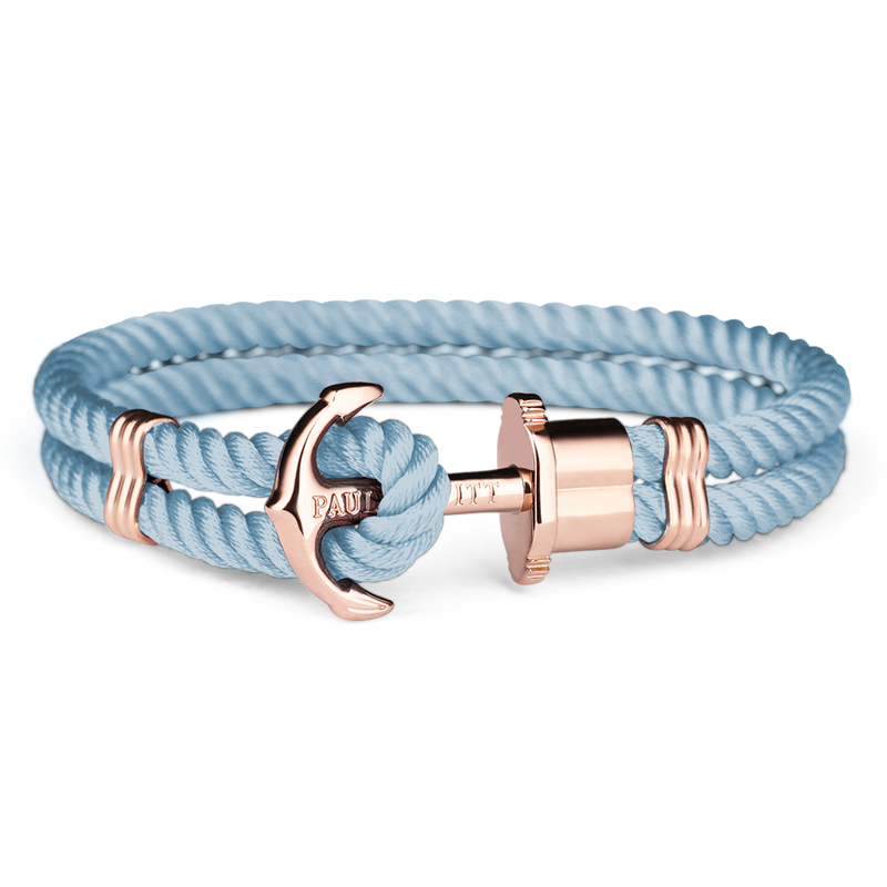 PAUL HEWITT ACCESSORY PHREP IP ROSE GOLD NYLON NIAGARA BLUE