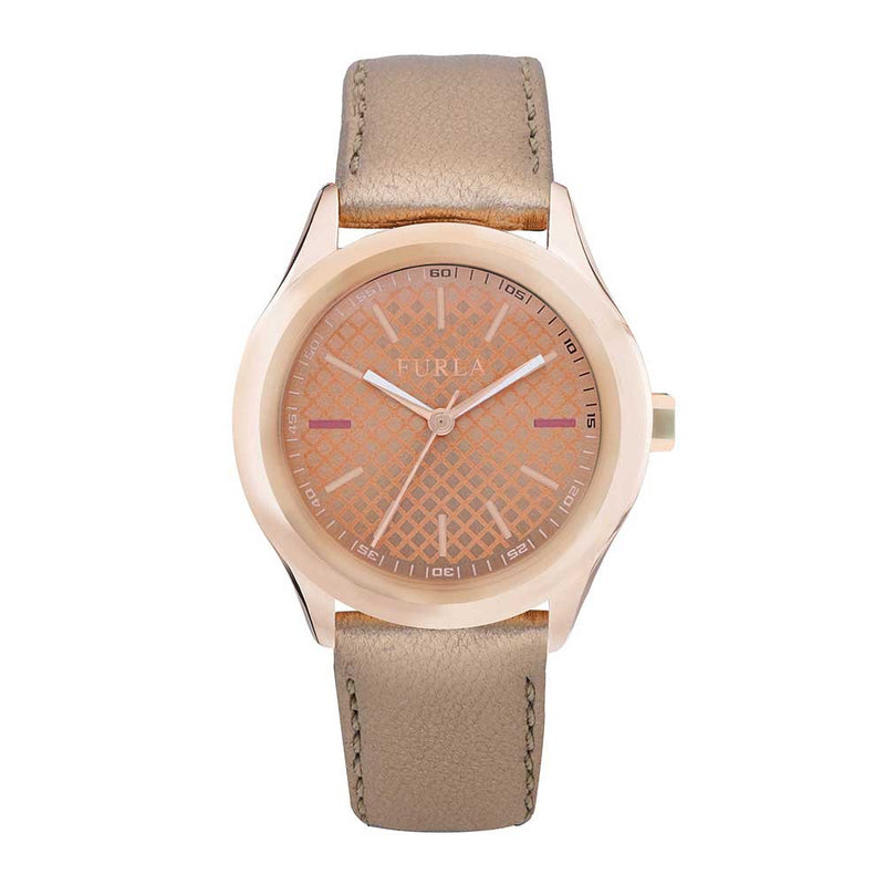 FURLA ANALOG QUARTZ ROSE GOLD STAINLESS STEEL R4251101502 LEATHER STRAP WOMEN'S WATCH