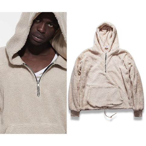 Mens Half Zipper Pullover Fleece Sherpa Hoodie