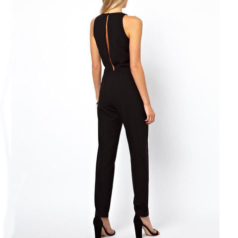 Solid Sleeveless Crew Neck Jumpsuit