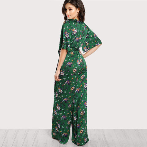 Bell Sleeve Plunge Neck Self Belted Palazzo Jumpsuit