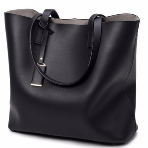 Womens Black Leather Shoulder Tote