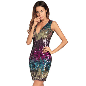 Sequin Bodycon Sexy V-Neck Sleeveless Dress