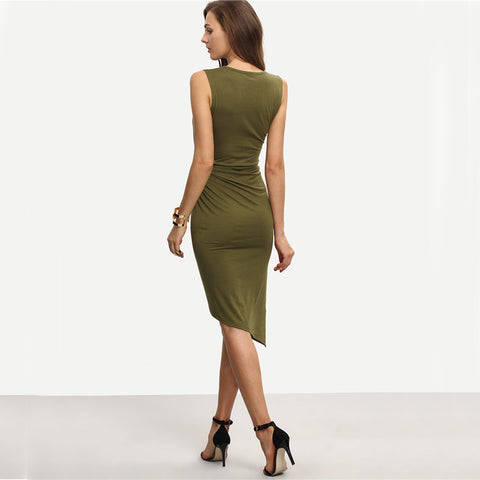Army Green Sleeveless Knot Sheath Dress