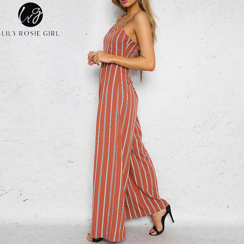 Red Striped Off Shoulder Jumpsuit