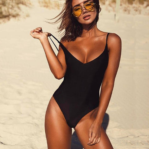 One Piece Solid Black Backless Swimsuit