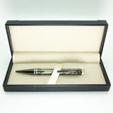 Warner Lacquered Blk Metal Pen with Leather Box