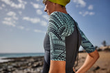 WOMEN'S KONA-TARGET SHORT SLEEVE SWIM SKIN - Grey/Blue