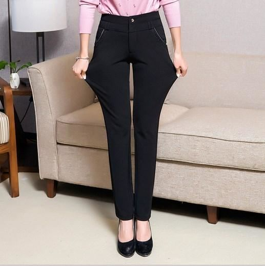 8c8146ee0de ... Korean Womens Black Grey Blue Dress Stretch Pants Plus Size Formal  Trousers Summer Work Wear For ...