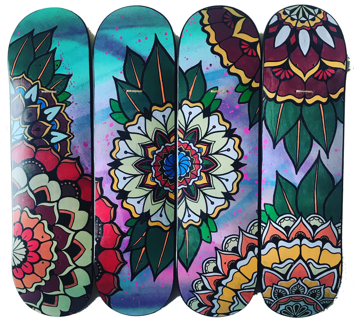 Original: Geometric Mandala - skateboard art