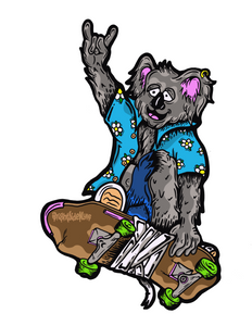 Wall Art Decal - Skateboarding Koala