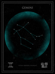 Gemini Zodiac Sign Star Print
