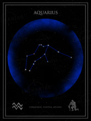 Aquarius Zodiac Sign Star Print