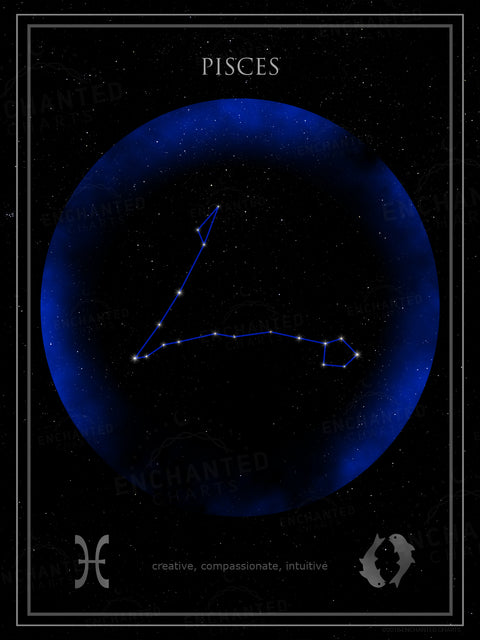 Pisces Zodiac Sign Star Print