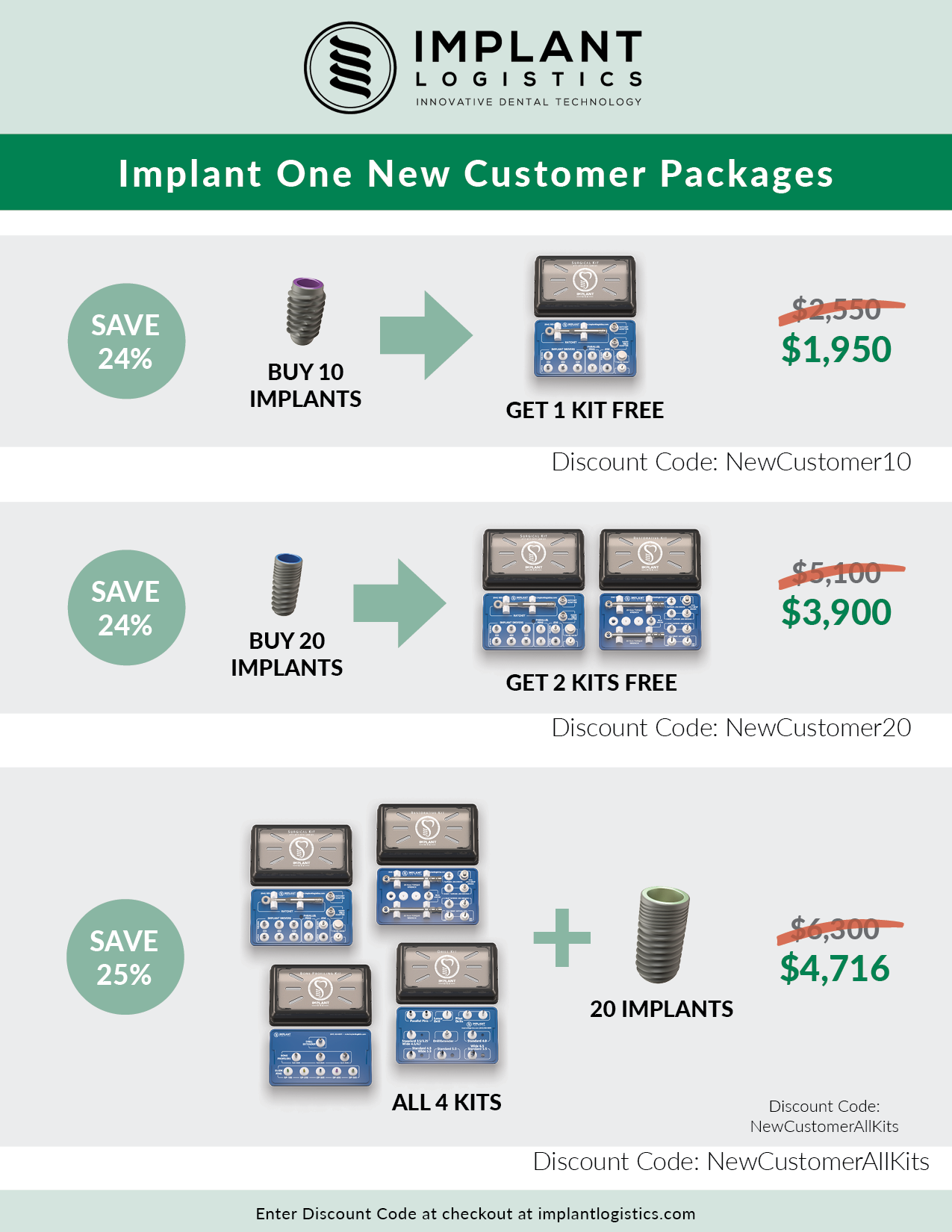 Implant One new customer discounts