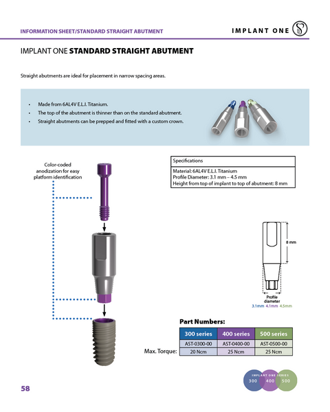 Implant One 400 Series Straight Abutment