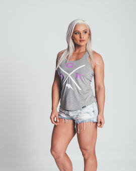 CROSSOVER FITTED TANK - GREY - Dark Apparel