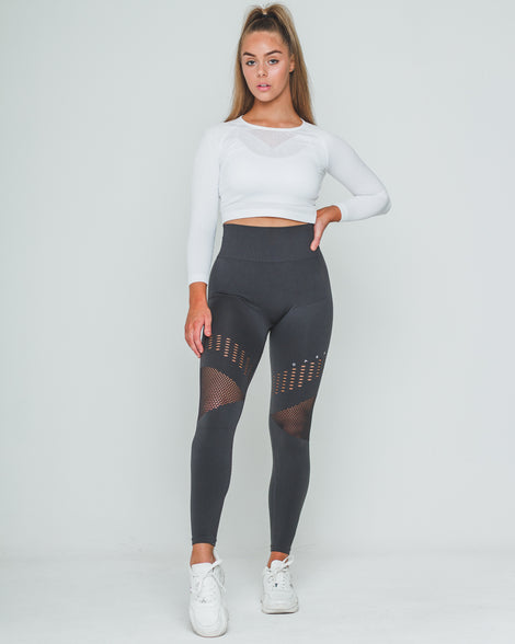 PERFORATED SEAMLESS SV3 LEGGINGS | GREY - Dark Apparel