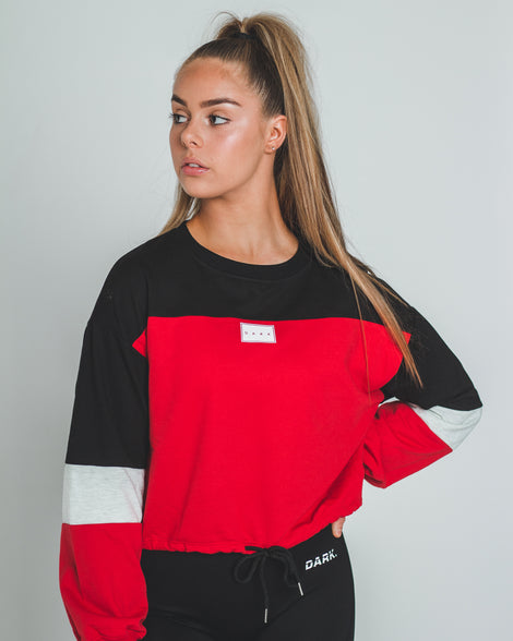 DAILY DRAWSTRING SWEATER | RED - Dark Apparel
