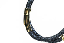 Load image into Gallery viewer, Black & Gold Double Leather Bracelet