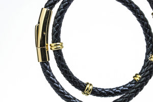 Black & Gold Double Leather Bracelet
