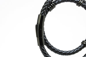 All Black Double Leather Bracelet