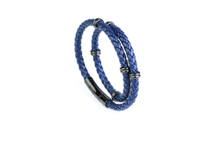 Double Navy Leather Bracelet
