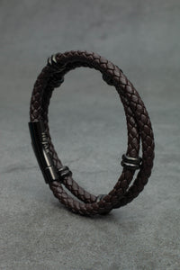Classic Double Leather Bracelet - Brown Edition