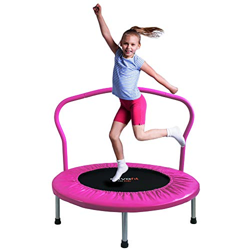ATIVAFIT 36-Inch Folding Trampoline Mini Rebounder ,Suitable for Indoor and Outdoor use, for Two Kids with safty Padded Cover