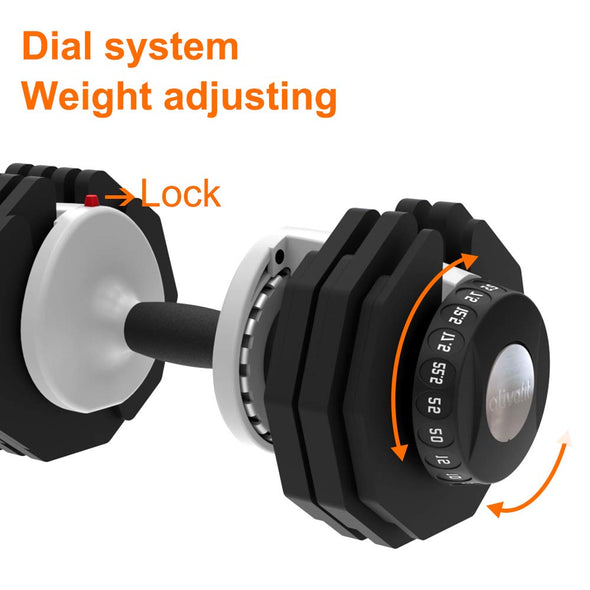 adjustable dumbbell dial