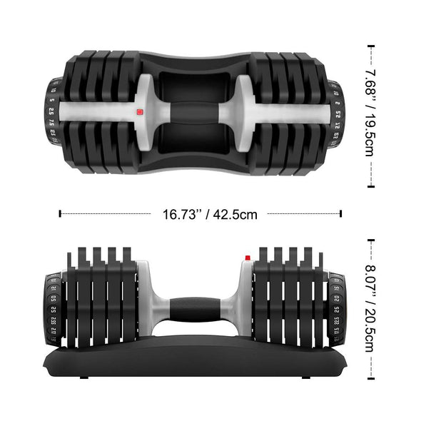 adjustable dumbbell size