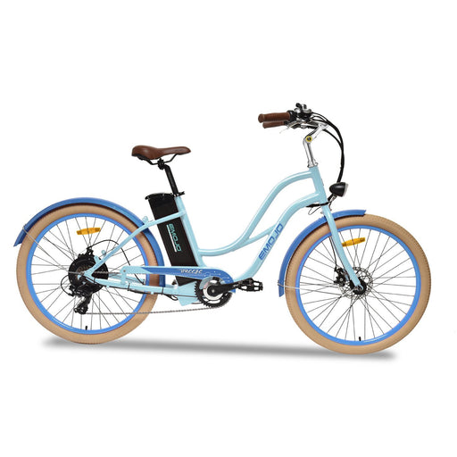 Emojo Cruiser Blue E-Mojo Breeze Step-through Electric Beach Cruiser Electric Bicycle USA
