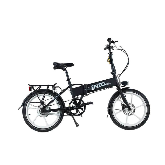 Enzo Folding Ebike Black / Single-Gear Belt Enzo Folding Ebike with Belt Drive Electric Bicycle USA
