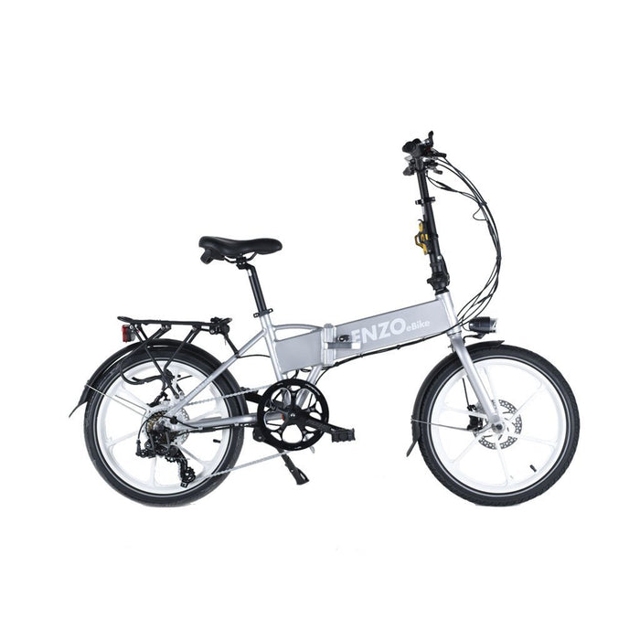Enzo Folding Ebike Silver Enzo Glow-in-the-Dark Folding Bicycle (9 color options) Electric Bicycle USA