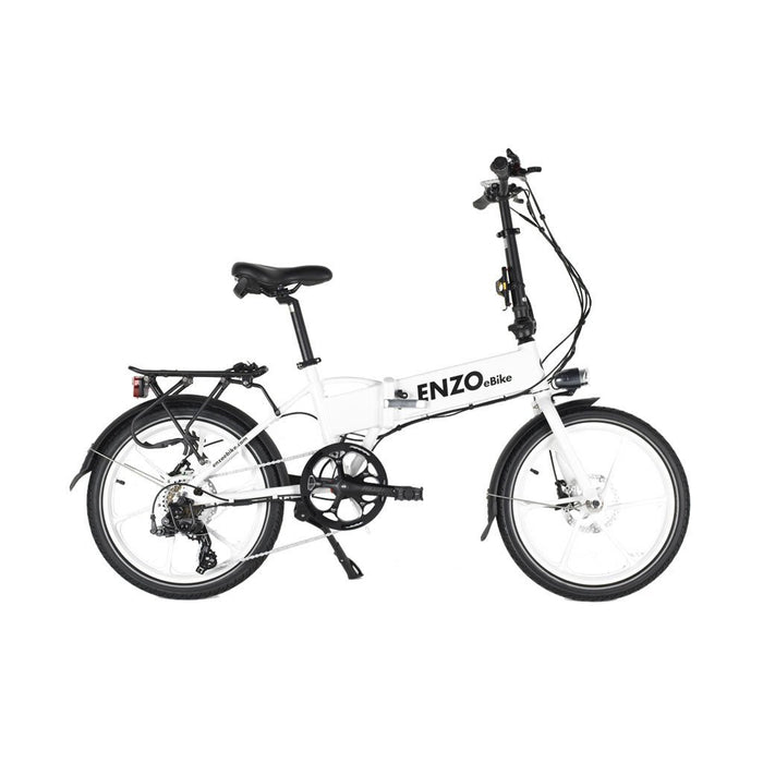 Enzo Folding Ebike White Enzo Glow-in-the-Dark Folding Bicycle (9 color options) Electric Bicycle USA