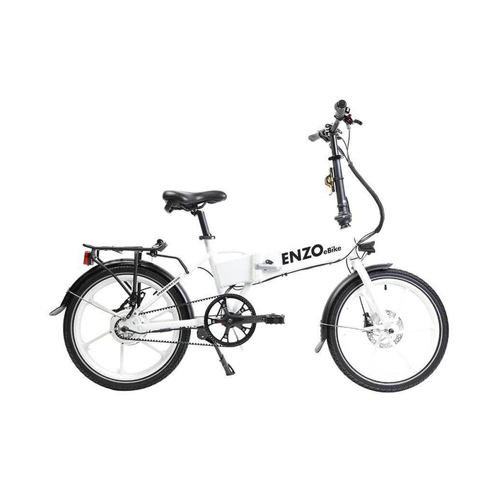 Enzo Folding Ebike White / Single-Gear Belt Enzo Folding Ebike with Belt Drive Electric Bicycle USA